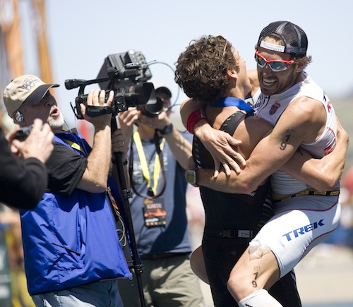 Post race Bro Hugs are MANDATORY at Wildflower. (Thanks to Jay Prasuhn for the awesome photo).