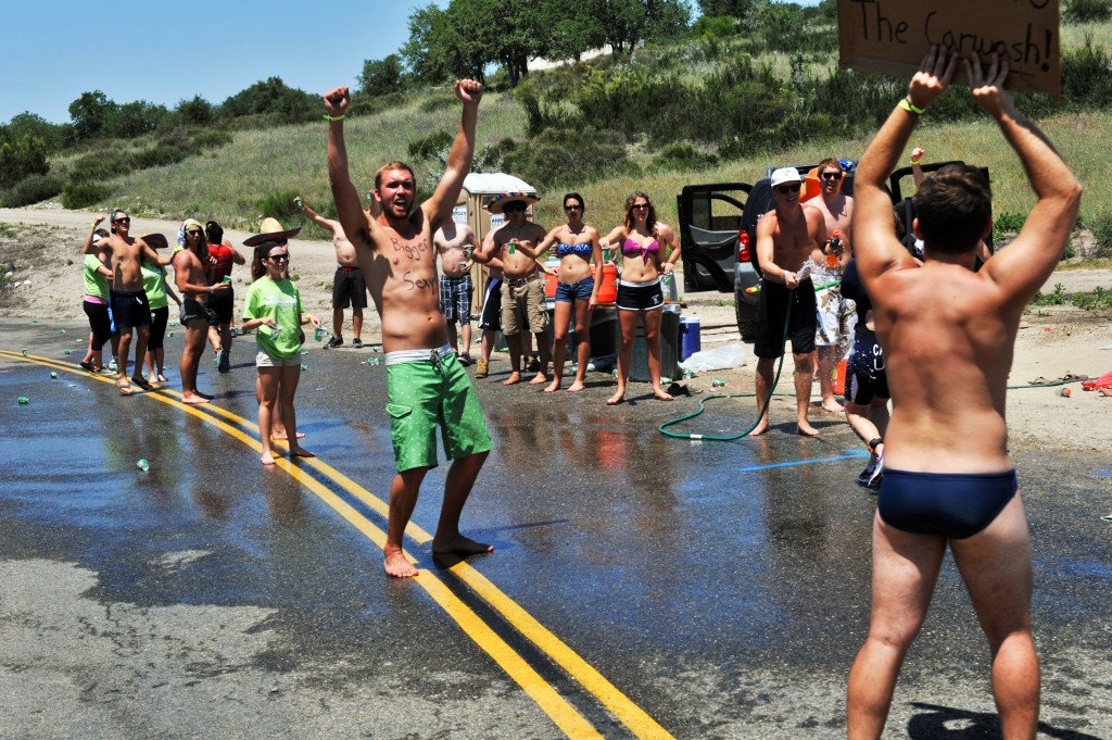 One of the non naked (or at least prenakedness) aid stations.