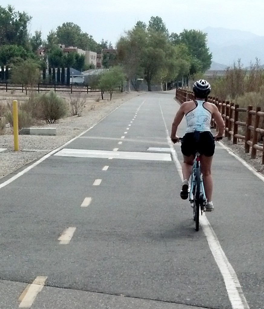 The actual, exact low point of my recovery was when this woman passed me on the bike path.