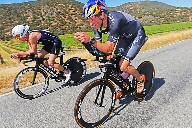 Brian and I in pursuit of Davide. Photo Tim Carlson / Slowtwitch.