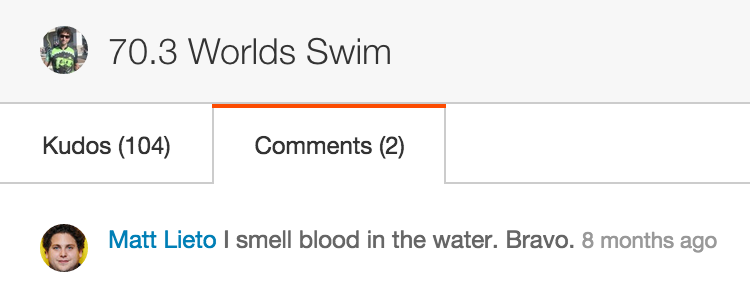 Notice Matt's comment on my good swim at World's last year.