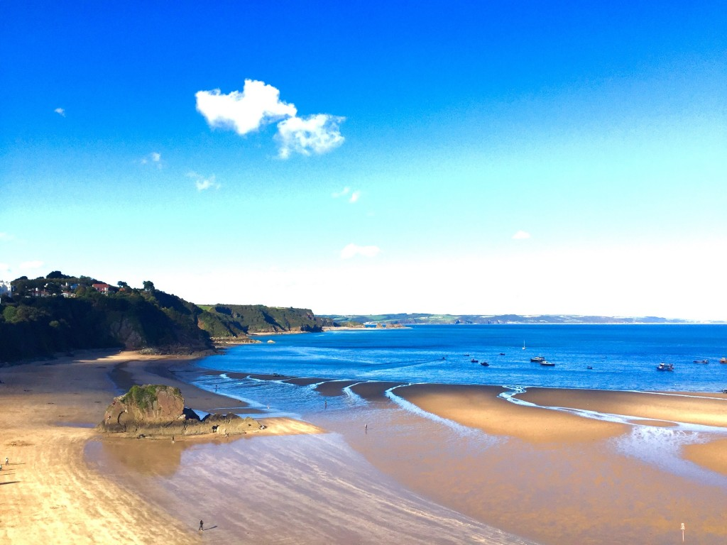 A view of the beach where I'll swim in Tenby.